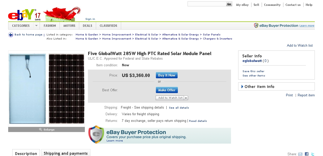 GlobalWatt Sells Someone Else's Solar Panels – on eBay – Michigan