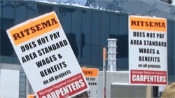Protesters outside Ritsema Construction sites.