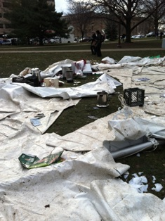 "Images from ""Union Protesters' Attack Hits Local Employer with $35K Tent Destruction"""