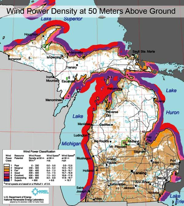 Most Of Michigan Is Poor Or Marginal For Wind Energy Michigan