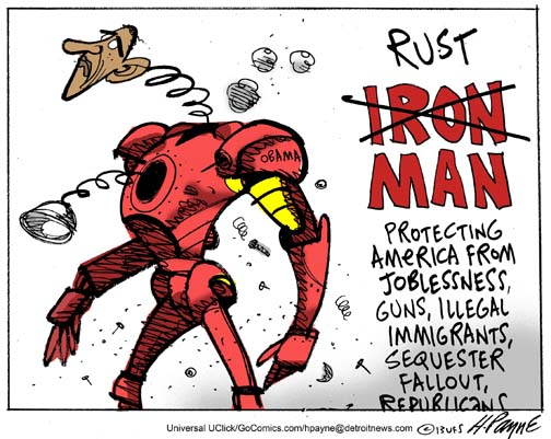 Henry Payne Cartoon - Obama Rust Man