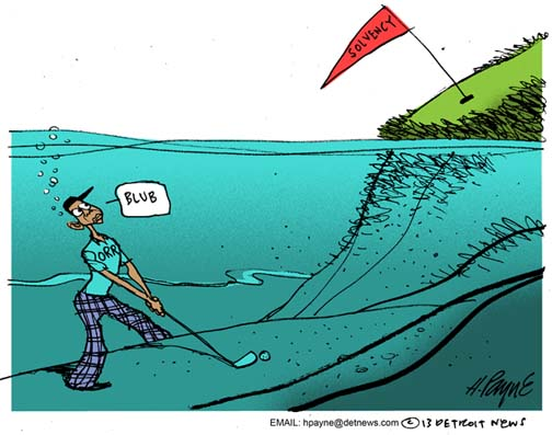 Henry Payne Cartoon - Orr Solvency Golf