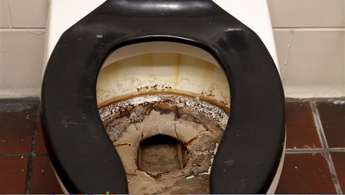 A toilet at Highland Park High School