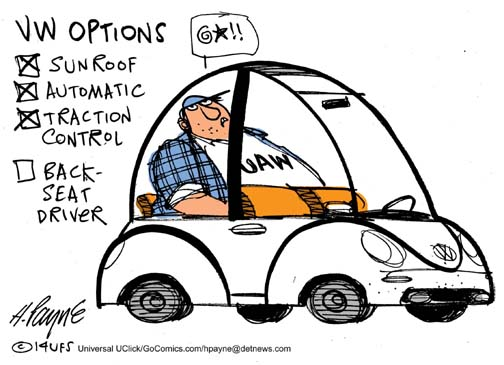 Henry Payne Cartoon - UAW vs. VW