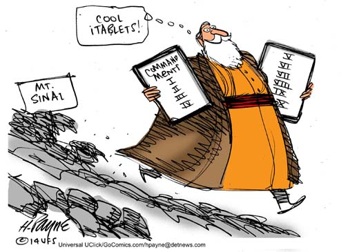 Henry Payne Cartoon - Mosesi Tablets