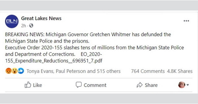News Site Claims Whitmer Defunding Police But 633m In State Cuts To Be Replaced By Federal Dollars Michigan Capitol Confidential