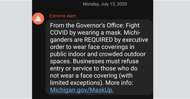 Governor Used State S Emergency Alert System To Broadcast Face Mask Mandate Michigan Capitol Confidential